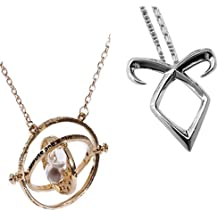 (Pack of 2 Necklaces) Movie Inspired Hermione Granger's Gold Time Turner + The Mortal Instruments Inspired City of Bones isabelle Necklace Silver - Gift Box