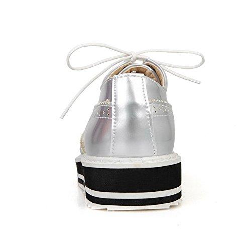 VogueZone009 Damen Schnüren Blend-Materialien Niedriger Absatz Rein Pumps Schuhe Silber