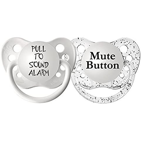 Ulubulu Pacifier Set, Pull to Sound Alarm and Mute Button, 0-6 Months by (Mute Set)
