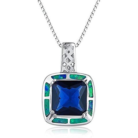 City Ouna® Sterling Silver Square forma creata blu e verde opale di fuoco dell'intarsio e della collana del pendente zirconi per Ragazze Donne San Valentino