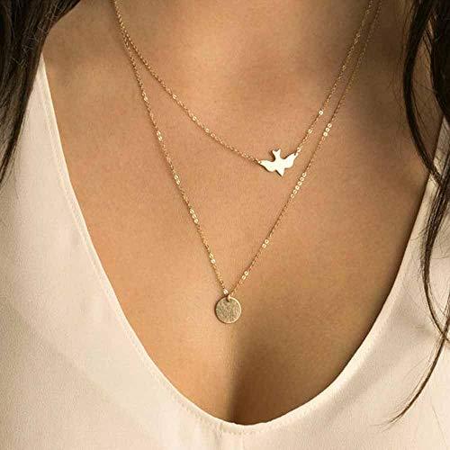 Jovono Böhmen mehrschichtige Damen-Halskette mit Vögel und Pailletten Anhänger Muster Halsband Ketten für Damen