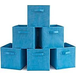 EZOWare Boîtes de Rangement Ouvertes en Textile Non-Tissé, Tiroir en Tissu, Pack de 6, pour Linge, Jouets, Vêtement, Disques DVD etc. - Niagara Bleu