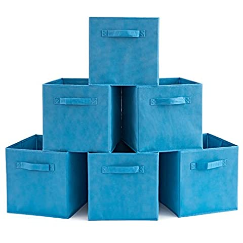 Storage Box (Pack of 6), EZOWare Foldable Organiser Cube Basket Bin for Washing Laundry, Toys, Clothes, DVDs, Books, Food, Bedding, Art and Craft - Niagara