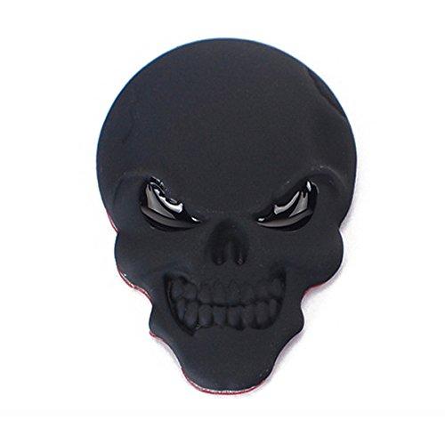 WINOMO 3D schwarzer Schädel-Metallaufkleber Auto-Firmenzeichen-Abzeichen-Emblem-Abziehbild (Atv Lustig Aufkleber)