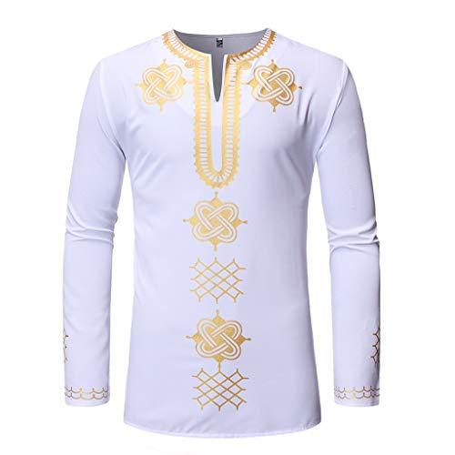 BHYDRY Männer Vintage afrikanischen Druck gedruckt Langarm V-Ausschnitt T-Shirt Top Bluse Lightweight Boot Top
