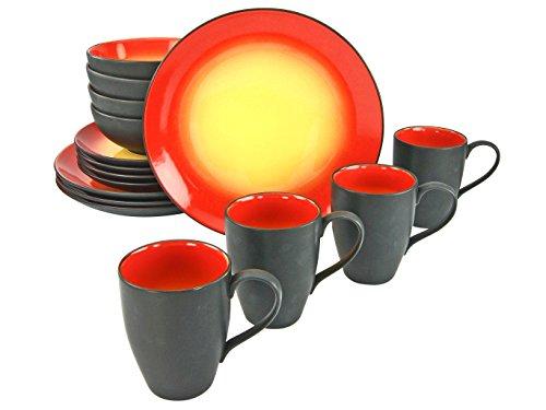 Creatable, 20200, Serie HOT RED, Geschirrset 16 teilig Kombiservice, Stein, Mehrfarbig, 35 x 34 x 35 cm, Einheiten (Steingut Geschirr Sets Schwarz)