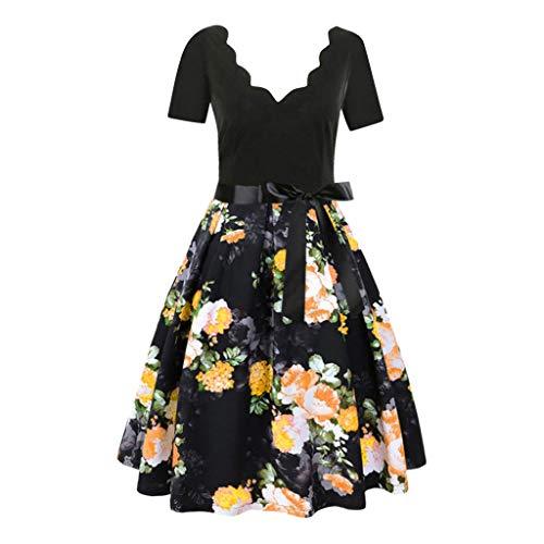 VENMO 2019 【S-XXXL Damen Vintage 50Er Cap Sleeves Rockabilly Retro Kleider Hepburn Stil Partykleid 1950Er Cocktailkleid V-Ausschnitt äRmellos Spitzenkleid Abendkleid(Gelb,XXL)