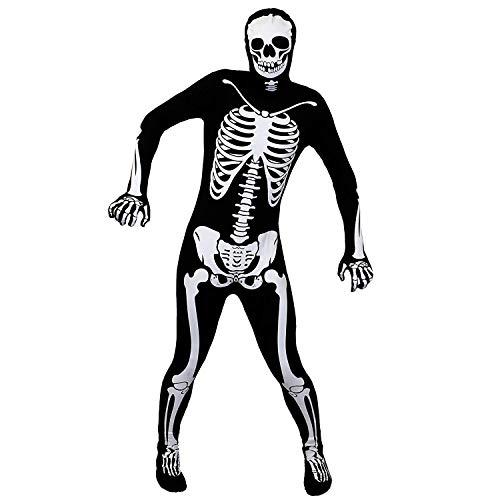 ILOVEFANCYDRESS Erwachsene Skelett Halloween KOSTÜM Skin Suit Einteiler MIT Knochen Aufdruck Erwachsene KÖRPERANZUG Body Outfit - GRÖßE: X-GROß (Skelett Skin Suit Kostüm)