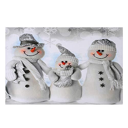 Qianren Weihnachtsteppich Winter Weiß Schneemann Korallenvlies Rutschfest Waschbar Bodenmatte Teppich Fußmatte Weihnachten Dekorativer Teppich
