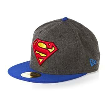 New Era Hero Melton Superman 59fifty 5950 Fitted Cap Charcoal Grey Black  Kappe Men 2b19f72941a