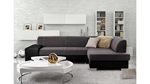 JUSTyou Mepol Canapé d'angle Sofa canapé lit Tissu structuré Simili Cuir (HxLxl): 73x268x167 cm Gris Noir Angle Droit