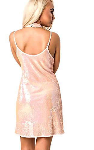 Women's Ladies Gorgeous Glam Sequin Mini Shift Dress pink