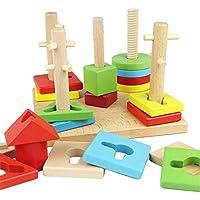 Preisvergleich für Hukangyu1231 Babyspielzeuge, pädagogische Spielwaren der Kinder Hölzerner bunter fünfspaltiger Block-Satz, geometrische Form-kognitives Babyspielzeug für Kleinkind-Jungen-Mädchen-Alter 2+