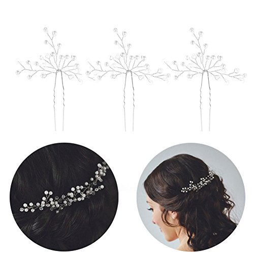 3 Stück Braut Kamm Haarnadel Hochzeit Handgefertigt Haarschmuck verschönert mit Perle und Kristallen Greencolourful (Silver)