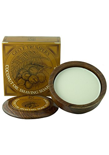 Geo F Trumper Wooden Shaving Bowl & Shaving Soap (Coconut Oil, 80g)