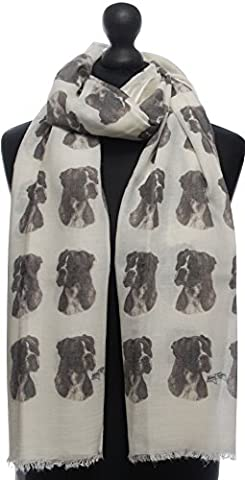 Boxer Fashion Design Limited Edition Ladies Scarf - Exclusive Mike Sibley Fashion Scarf Signature Collection - Perfect Gift for Any Dog Lover - Hand Printed in the