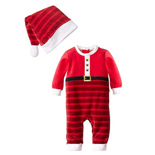 JEELINBORE Bambino Ragazzi Ragazze 2PCS Natale Pagliaccetto Neonato Costume da Elfo con Cappello Xmas Pigiama - A Strisce # Rosso, 80 (per Altezza Entro 66cm)