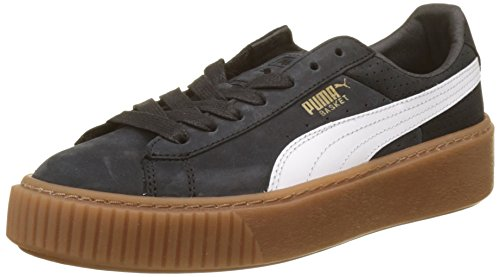 Puma Damen Basket Platform Perf Gum Sneaker, Schwarz Black-White-Gold, 39 EU (High 02 Heel-plattform)