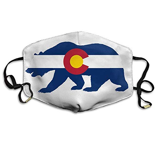 Forest Animal Bear Colorado Flag Silhouette Face Mouth Mask Unisex Polyester Comfy Anti Dust Masks -
