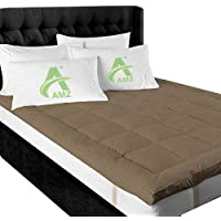 AMZ Super Soft 500 GSM Hollow Fiber for Thickness Mattress Padding/Topper for Comfortable Sleep (60 x 72 Inches,Brown)