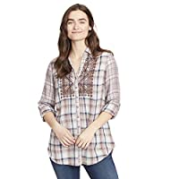 Vintage America Blues Women's Nadia Plaid Button Down with Embroidery and Roll Tab Sleeves, Light Khaki-Spirit, Large