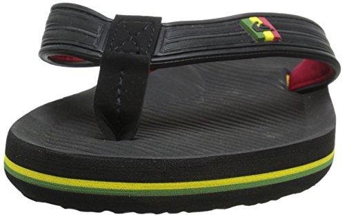 Quiksilver Haleiwa Deluxe, Jungen Zehentrenner Sandalen schwarz/rot/grün
