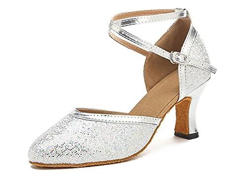 Honeystore Neuheiten Frauen Kunstleder Heels Moderne Einfarbig Tanzschuhe mit Pailletten Silber 34