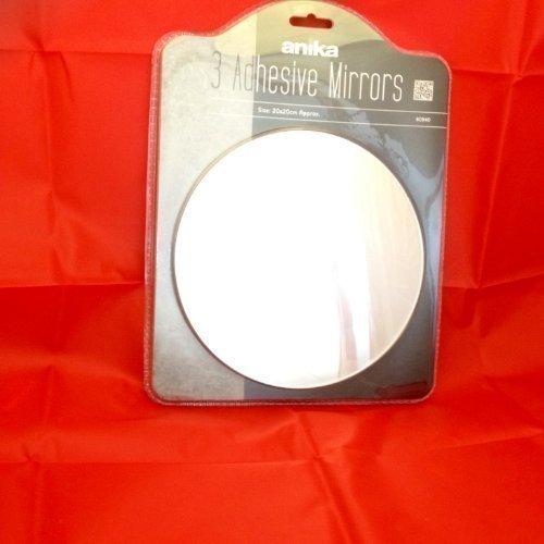 3 x Selbstklebend Rund Spiegel 20cm x 20cm Badezimmer Spiegel