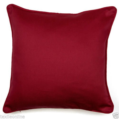 Textile Online Dobby Cushion Cover 100% Cotton T-200 Thread Count Fabric (16″ x 16″, Red)