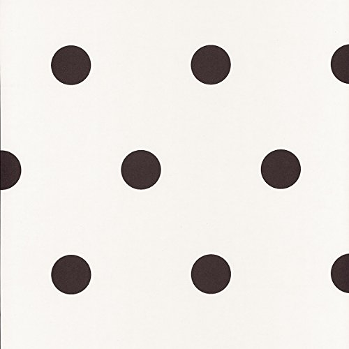 Caselio 67799107 Papel Pintado con Lunares de 5 cm ápex con el Fondo en Color Blanco Roto y Dibujos Negros