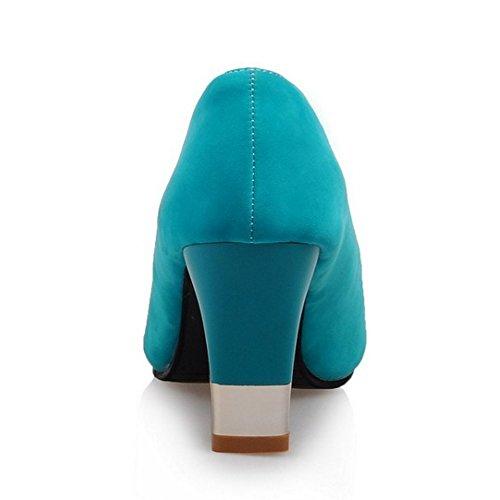 TAOFFEN Femme Mode A Enfiler Peep Toe Bloc Sandales Vert