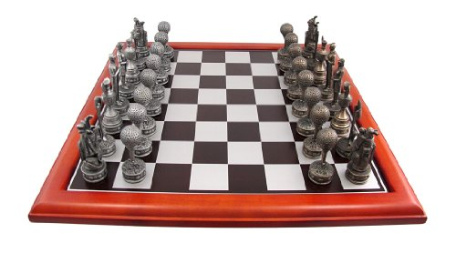 Traditionellen Bronze-finish (Silber/Bronze Finish Golf Motiv Chess Set Golf)
