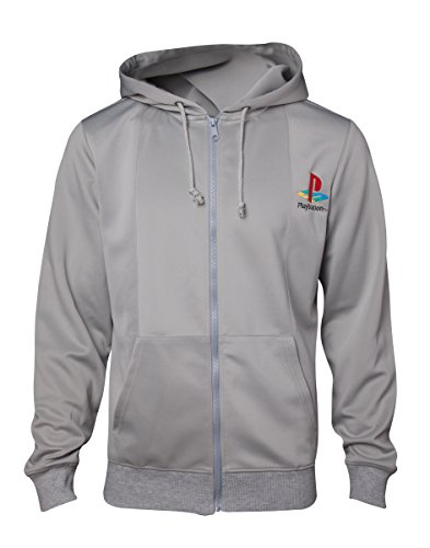 Meroncourt Herren Sony Playstation Ps One Full Length Zipper Hoodie Kapuzenpullover, Grau Grey, S Button-station