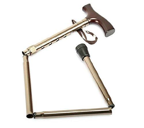 XCJ Bastón plegable telescópico plegable bastón ajustable para los ancianos andador antideslizante mango de madera maciza