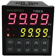 Inkbird Doppio Relé Digitale Temporizzato Connettore Tempo Timer Ritardo Interruttore Controllore LCD Display 110-220V IDT-E2RH
