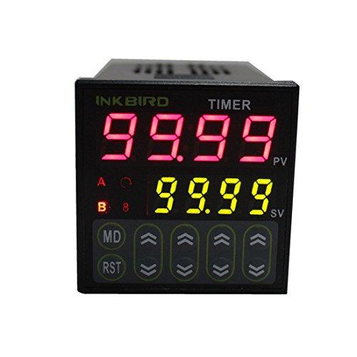 Inkbird Digitale Twin Relais Timer Schalter Zeitschalter Zeitschaltuhr Auslöser Relaisschalter, Zeitsteuerung 110-220V IDT-E2RH - Digital-relais