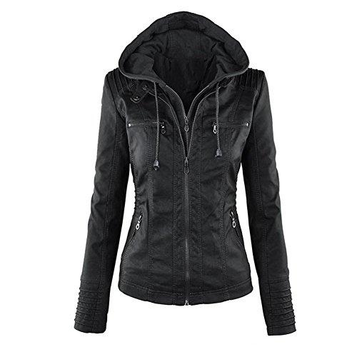 Newbestyle Kapuzen Kunstleder Damen Jacke Motorradjacke Ladies Oberbekleidung (Normale EU-Größe) (40 Small, schwarz)