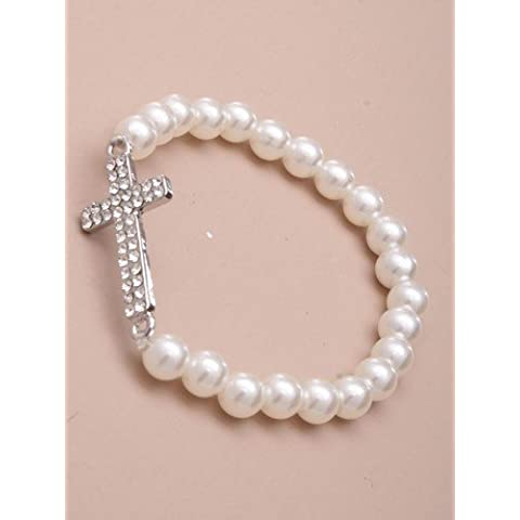 2072 Stretch pearl bead bracelet Silver Crystal metal cross Wedding Christening Conformation by Inca Jewellery
