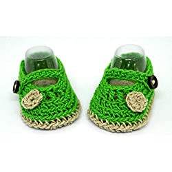 Botines para bebés, Zapatos de bebé de ganchillo, Zapatos Mary Jane, Sandalias veraniegas, Zapatos de niñas de flores, Zapatos de bebé, Botines de bebé verdes, Zapatillas de bebé niña