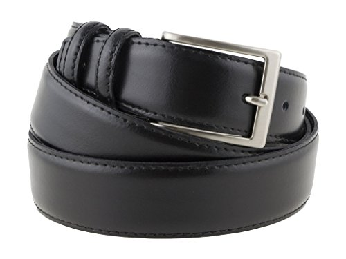 Cintura in pelle di vitello nera semi lucida da uomo per cerimonie elegante artigianale made in Italy (125 cm (54/56 EU))