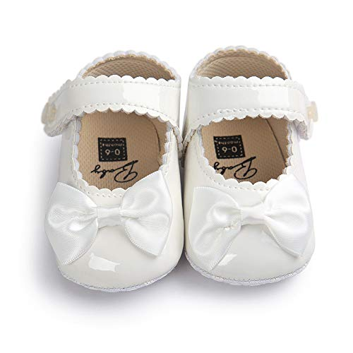 JPJQ Baby Girl Shoes Anti Slip Princess Bowknot Prewalkers Girls Infant Soft Sole First Walking Shoes White 3 6 Months