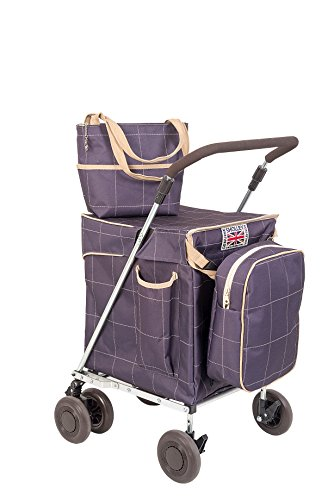 Sholley 'Mulberry' Faltbarer Deluxe Einkaufswagen. Robuster zweilagiger Shopper und Mobilitätshilfe zum Gehen, 4, 6 Räder, Handtasche, Kühltasche, kostenloser Innentaschentrenner.