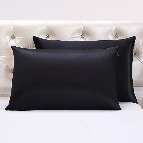LilySilk Luxus Seidenkissenbezüge Bettkissenbezüge Kopfkissenbezüge Seide Kissenbezüge mit Reißverschluss 2 Stücke aus 100% Maulbeerseide von 22 Momme - Schwarz, 80x80cm Verpackung MEHRWEG