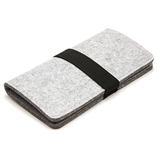 Urcover® Filz Handy Tasche mit Gummiband Verschluss für Kleinteile, Smartphone, Kosmetik Retro Design passend für Ihr iPhone 6, Galaxy S7, Galaxy S6 & S6 Edge und viele weitere Smartphones bis 5,5 Zol Grau