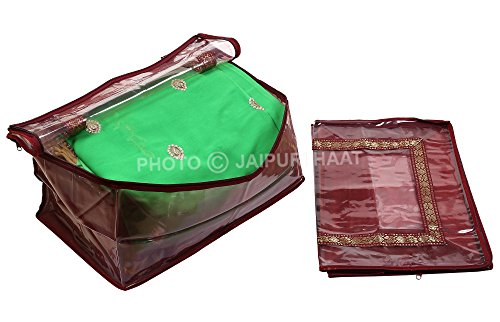 Jaipuri Haat Large size Superior quality Transparent Plastic with Gota stripes bow Saree Cover