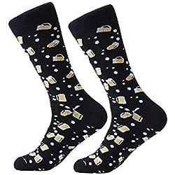 ANANDAYA Calcetines molones de algodón con estampados divertidos para Hombre. Talla 40-46 (Cervezas)