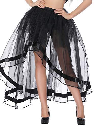 FeelinGirl Damen Amelia Gothic Steampunk gekräuselten Kuchen Rock Styles Low High Gothic Button Rock