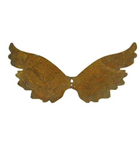 Metallmichl Edelrost Flügel 14 cm hoch (groß) kurz nach Oben mit Loch zum Einarbeiten, Engel-Flügel aus rost Metall für innen und außen