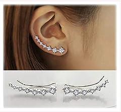 Idea Regalo - Donna Orecchini in Argento 925 con 7 Cristallo Ear Cuff Hoop Climber ipoallergenico orecchini di Festa della Mamma
