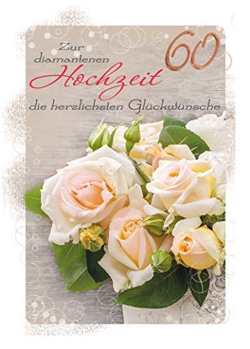 XXL Diamanthochzeitskarte | DIN A 4 Maxi-Karte | Diamanthochzeit | Karte zur Diamanthochzeit | 60. Hochzeitstag | Hochzeitstag 60 Jahre | Karte in Folie | Karte ohne Innentext